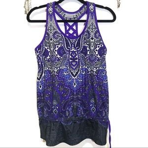 Athleta Tic Tac Toc Paisley Yoga Tank Top